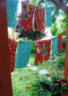 Oilcloth Addict - Feeding your Oilcloth Addiction with tips and tutorials with Modern June: Search results for alfresco Bunting, Activities For Kids, Summertime, Upcycle, Recycling, Sweet Home, Oilcloth, Diy Projects, Wreaths