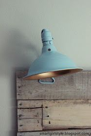 $7 clamp light - interior spray painted gold and exterior spray painted an accent blue. Low investment, BIG impact.