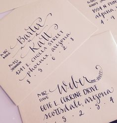 COASTAL CALLIGRAPHY | Lovely hand addressed calligraphy envelopes