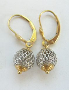 Solid 14K GOLD Dangling Earrings Signed CJI White and Yellow Gold Pierced Vintage GREAT Price!! by PASTIMEJEWELS on Etsy
