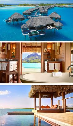 the four seasons bora bora--- So want to go it looks so peaceful and look at that water! ugh