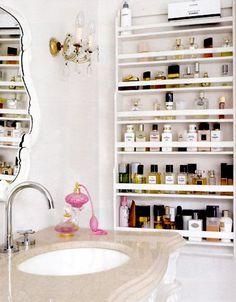 makeup organization ... spice rack. Interesting idea!