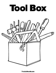 tool box coloring page from twistynoodlecom - Tools Coloring Pages Screwdriver