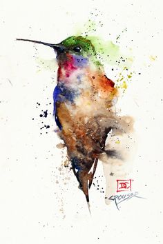 """""""TOPAZ"""" signed and numbered limited edition giclee' print from an original hummingbird watercolor painting by Dean Crouser. Signed and numbered, edition limited to 400 prints. Also available in tiles, coasters, cutting boards and more. Watercolor Hummingbird, Hummingbird Art, Watercolor Bird, Watercolor Animals, Art Colibri, Tableau Pop Art, Watercolor Art Paintings, Watercolours, Guache"""