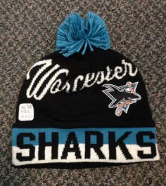 Worcester Sharks Reebok Cuff Knit w/Pom OSFA $19.99 Visit www.shopsharks.nepacompany.com to order. Worcester, Sharks, Reebok, Knitting, Shopping, Shark, Tricot, Breien, Weaving