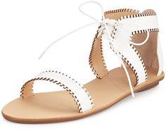 Loeffler Randall Sophia Leather Lace-Up Sandal, White レザー・レイスアップ・ホワイト・サンダル on ShopStyle