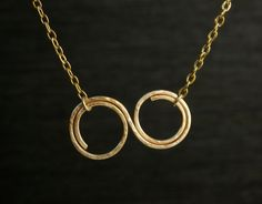 Double Circles Infinity Gold Plated Pendant Cable by nuubynuch, $45.00