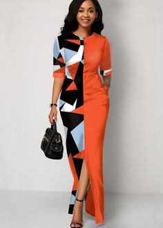 Women'S Orange Geometric Print Front Slit Maxi Dress Half Sleeve Sheath Elegant Work Dress By Rosewe Half Sleeve Geometric Print Front Slit Dress Latest African Fashion Dresses, African Dresses For Women, African Print Fashion, African Attire, Women's Fashion Dresses, Sexy Dresses, Africa Fashion, Trendy Dresses, Fashion Clothes