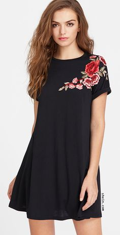 Casual Tshirt Embroidery and Appliques Floral Shift Trapeze Round Neck Short Sleeve Roll Up Sleeve Black Short Length Embroidered Flower Patch Roll Cuff Swing Tee Dress Robe Swing, Swing Dress, Shift Dresses, Looks Pinterest, Embroidery Dress, Floral Embroidery, Vintage Embroidery, Embroidery Applique, Tee Dress
