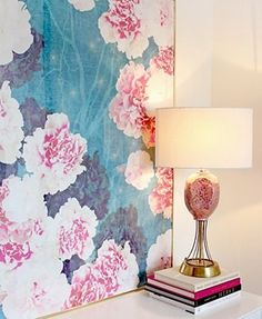 Love the lamp Easy & Inexpensive DIY Art: A Framed Scarf