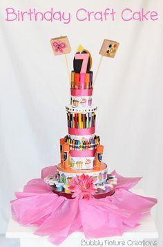 Birthday Craft Cake - for the budding artist or crafty connoisseur - love the idea of a tin as a base to hold more stuff!!