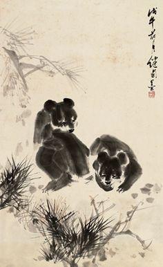 LIU JIYOU (1918~1983)TWO BEARS Ink and color on paper, mounted Dated 1978 95.5×58cm 劉繼卣(1918~1983) 雪松熊戲圖 設色紙本 鏡片 1978年作 款識:戊午荷月,繼卣墨。 鈐印:繼卣所作(朱)