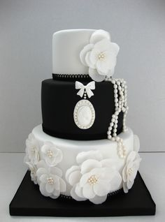 Beautiful black and white wedding cake - Chanel Inspired