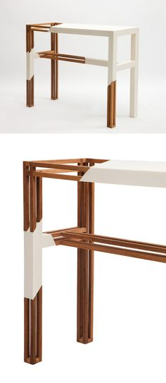 Plusdesign | Table Stripping (materials - corian and oak) | some work by Liliana Ovalle
