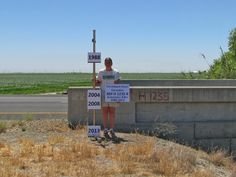 U.S. Geological Survey scientist Michelle Sneed shows where a farmer would have been standing in 1988, before a six-year drought triggered sinking in California's San Joaquin Valley. It also shows how sinking accelerated in 2008.