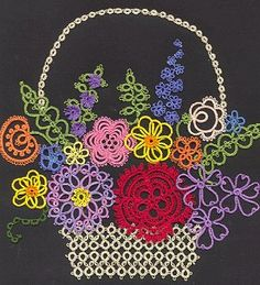 """Tatted motif - no pattern, but could be """"copied"""" easily with any flower patterns."""