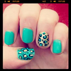 Turquoise and gold leopard print nail art