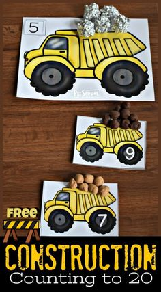 FREE Construction Counting to 20 – super cute number mats to help toddler, preschool, and kindergarten age kids practice counting These number playdough mats are a fun, hands-on math activity for preschoolers who love dump trucks. - Kids education an Counting To 20, Counting Activities, Toddler Activities, Toddler Preschool, Kindergarten Age, Preschool Learning, Preschool Activities, Space Activities, Pete The Cat
