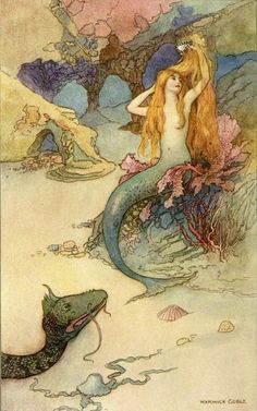 In Scandinavian folklore, mermaids are good-natured beings who sit on rocks and comb their beautiful gold hair.