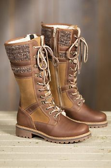 Waterproof Knitted Fabric Paneled Boots Casual Mid-calf Warm Boots - Leather Boots - Ideas of Leather Boots - Warm Boots, Snow Boots, Ugg Boots, Autumn Boots, Heel Boots, Women's Shoes, Me Too Shoes, Footwear Shoes, Shoes Style