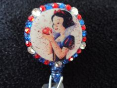 Snow white retractable ID holder clip by ImAsMADaSaHaTTeR on Etsy, $8.00