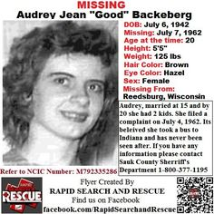 Current Missing Person flyers from Wisconsin in the 1970s To