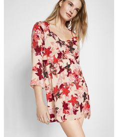 Floral Print Sweetheart Neckline Bell Sleeve Dress Floral Print Women's X Small