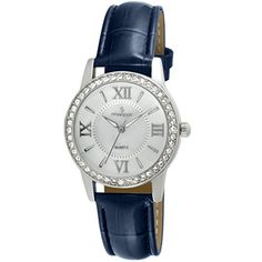 Peugeot Womens Crystal Bezel Quartz Metal and Leather Dress Watch ColorBlue Model 3044SBL *** Find out more about the great product at the image link. (Note:Amazon affiliate link) #WomenLuxuryWatches