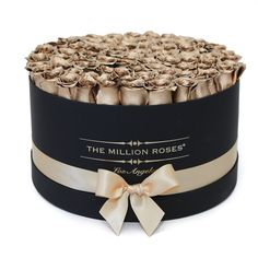 Hand crafted luxury quality soft touch box. About 80 stems of The Million ETERNITY 24k-gold color roses (long lasting preserved roses). The Million Eternity Rose last up to one year. Preserved roses: