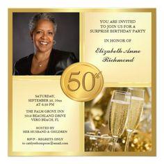 Elegant Gold 50th Birthday Party Photo Invitations Photos Quotes