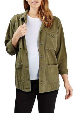 Topshop Topshop 'Simon' Herringbone Twill Maternity Shirt Jacket available at #Nordstrom