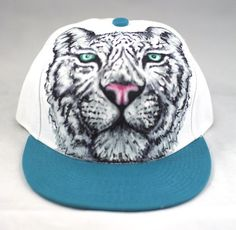 White Tiger Hand Painted Snap Back by Manik Apparel