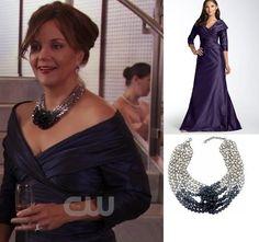 On Eleanor Waldorf: Teri Jon Crisscross Taffeta Gown, Swarvoski Glamour Mint Necklace