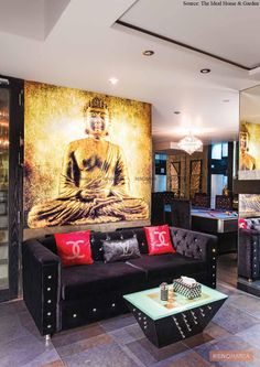 An uncluttered living room giving an auspicious and welcoming vibe with rich pigments and upholstery infusing positive energy all around Buddha Decor, Dark Shades, Upholstery, Rustic, Traditional, Living Room, Blog, Design, Home Decor
