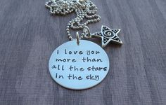I love you more than all the stars in the sky necklace star charm sterling silver handmade personalized jewelry