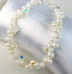 Freshwater White Pearl Teardrop Bracelet Swarovski AB Crystals Beaded | dianesdangles - Jewelry on ArtFire $20