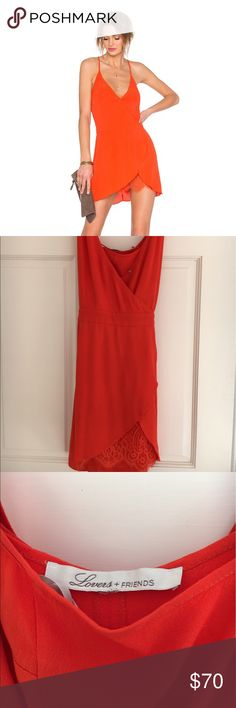 Lovers + Friends dress Adorable lovers + friends bright red/orange going out dress. Worn once! Lovers + Friends Dresses Mini