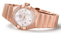 Omega. Constellation Star watch in red gold, diamonds and mother of pearl.