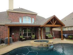 Full Gable Patio Covers Gallery - Highest Quality Waterproof Patio Covers in Dallas, Plano and Surrounding Texas Tx. Hot Tub Pergola, Pergola On The Roof, Pergola Shade, Patio Roof, Pergola Patio, Backyard Patio, Backyard Covered Patios, Covered Patio Design, Pergola Designs