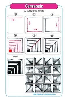 Capeangle Tangle, Zentangle Pattern by YuRu Chen Tangle Doodle, Tangle Art, Zen Doodle, Doodle Art, Zentangle Drawings, Doodles Zentangles, Doodle Drawings, Doodle Patterns, Zentangle Patterns