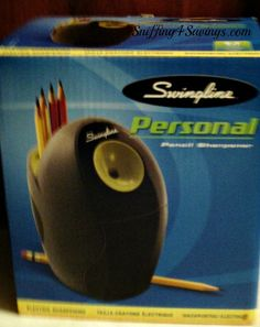 Swingline Personal Electric Pencil Sharpener, no more chewing up and breaking pencils, or load grrrrrr.... :) Love the style & color!