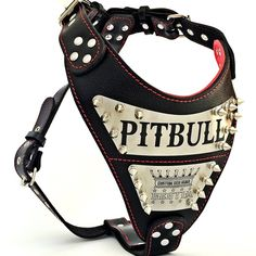 Personalized leather harnesses for big dogs. Your dog`s name engraved on stainless steel. Handmade quality