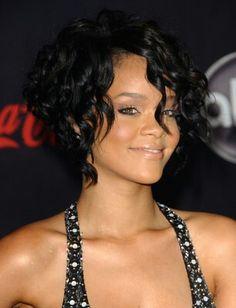 Rihanna's wavy angled bob. To die for..