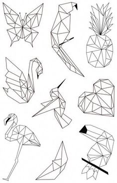 Double paper 'My Little Scissors – Dessin origami Pencil Art Drawings, Easy Drawings, Art Sketches, Geometric Deer, Geometric Drawing, Geometric Tattoos, Geometric Designs, Diy Tattoo, Origami Tattoo