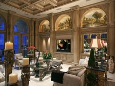 Living Room with coffered ceiling &  custom tv wall...
