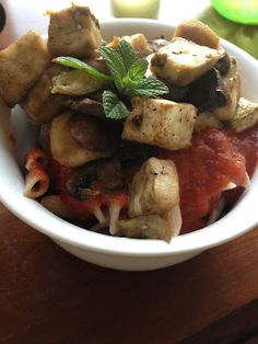 Roasted Eggplant and Mushroom Pasta  Vegan, low fat, highly nutritious - delish!