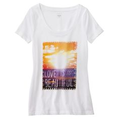 Mossimo Supply Co. Juniors Love Is Beautiful Graphic Tee - White.