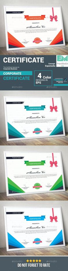 Certificate A creative, modern and coporate Certificate. Easy to change colours, text, photos Stationery Printing, Stationery Templates, Stationery Design, Print Templates, Free Printable Certificate Templates, Certificate Design, Infographic Templates, Print Design, Graphic Design