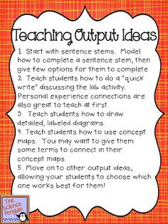 Input...Output for your Science Notebooks