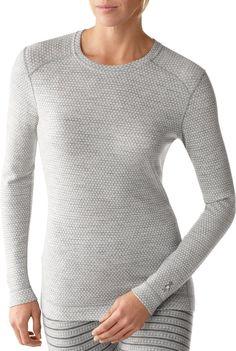 SmartWool Midweight Pattern Crew Top - Wool - Women's - silver gray heather dot, XS
